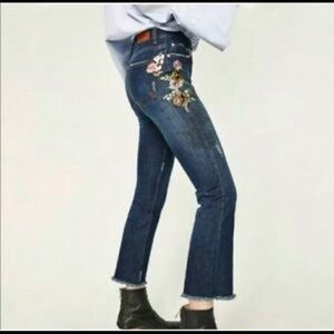 Zara Floral Embroidered Ankle Jeans
